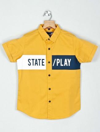 Ruff slim collar yellow printed cotton shirt