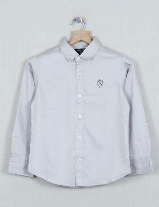 Ruff solid grey casual cotton shirt