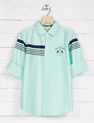 Ruff stripe sea green casual shirt
