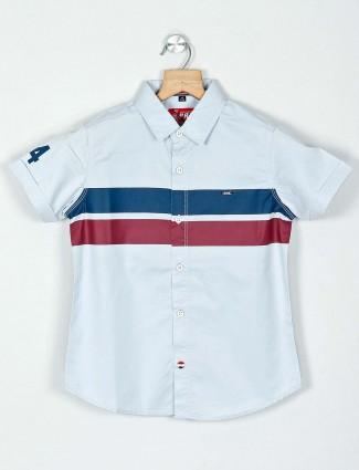 Ruff stripe sky blue casual wear shirt