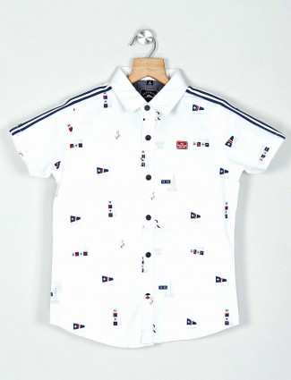 Ruff white cotton printed shirt
