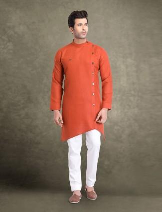 Rust orange festive wear full sleeves kurta suit