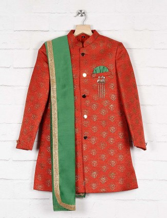 Rust orange raw silk fabric indo western