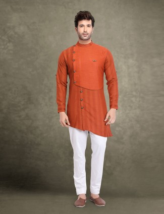Rust orange slim fit stripe kurta suit