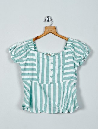 AND sage green stripe cotton casual top