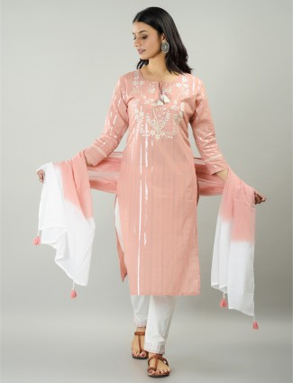 Salmon pink cotton festive wear stripe punjabi style pant suit