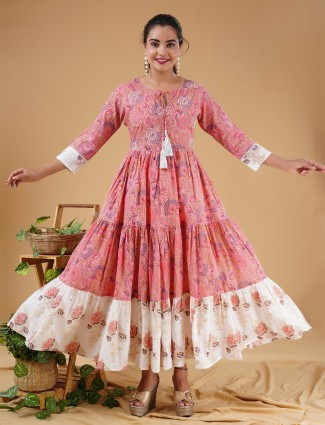 Salmon pink printed kurti for day to day look in cotton