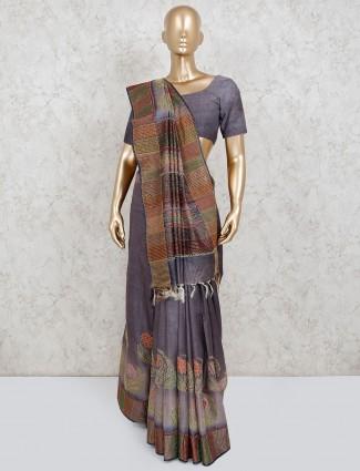 Saree in dark grey linen