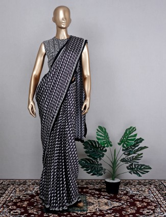 Satin crepe black saree for festive wear with ready made blouse