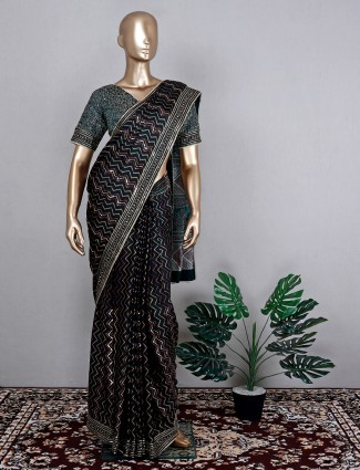 Satin crepe bottle green saree for festive wear with ready made blouse