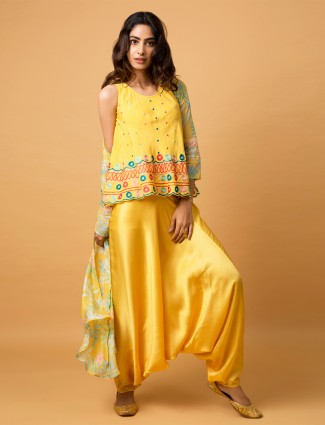 Satin festive occasion yellow printed dhoti suit