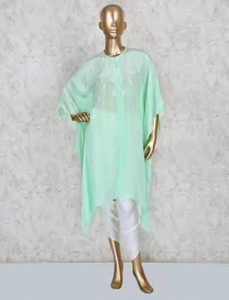 Satin kaftan style dress in green color