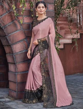 Satin latest onion pink wedding occasions saree