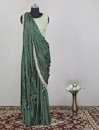 Satin lehenga in green color