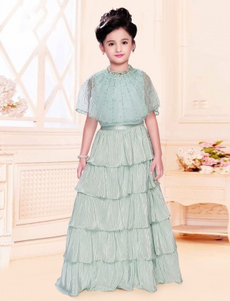 Satin mint green designer layer style gown