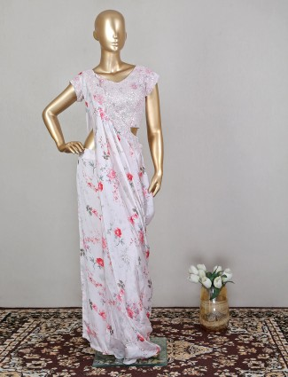 Satin off-white printed wedding wear palazzo suit for gorgeous women