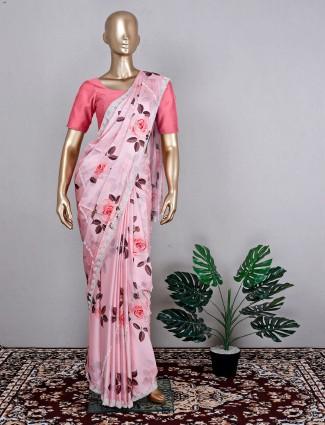 Satin pink wedding wear saree for women