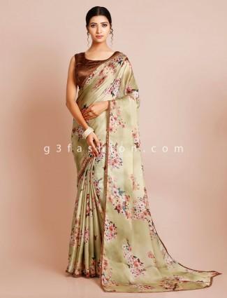 Satin silk green wedding wear saree