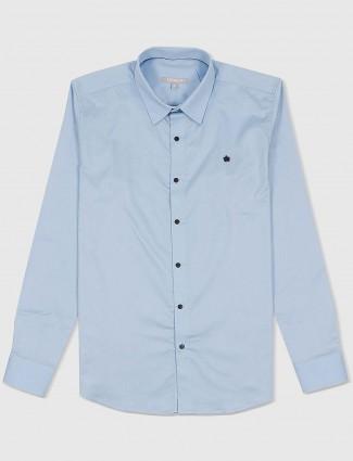 Scratch light blue mens casual shirt