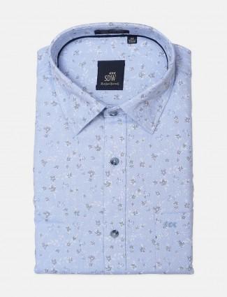 SDW blue hued printed shirt