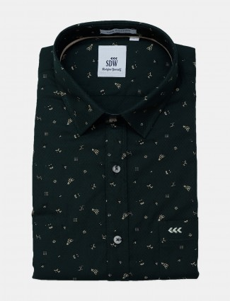 SDW bottle green color printed cotton shirt