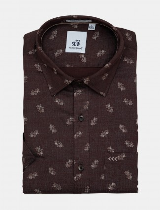 SDW brown cotton printed pattern shirt