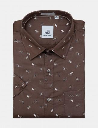 SDW brown printed mens formal shirt