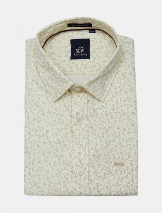 SDW cream printed official formal men shirt
