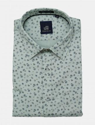 SDW green printed mens shirt
