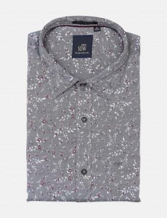 SDW grey printed formal shirt for mens