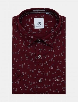 SDW maroon formal printed pattern shirt