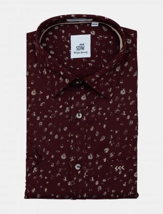 SDW maroon printed official formal shirt