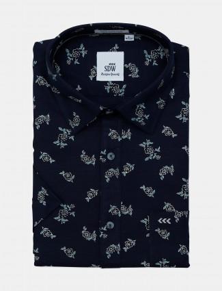 SDW navy printed mens shirt