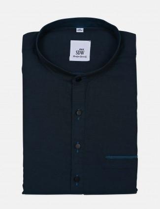 SDW presented peach printed cotton shirt