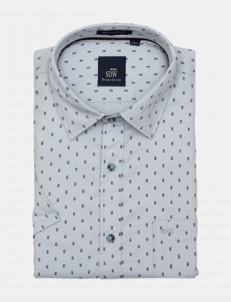 SDW presented white hue printed shirt
