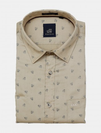 SDW printed formal shirt in beige for mens