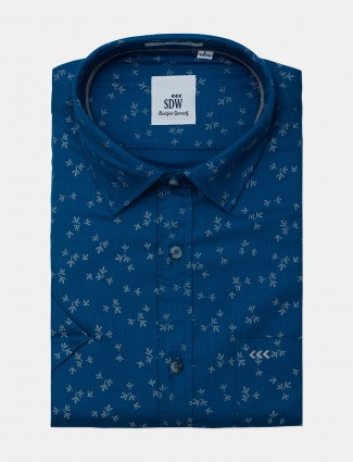 SDW printed formal shirt in blue for mens