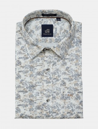 SDW printed off white colored formal shirt