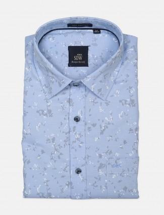 SDW printed pattern blue shirt