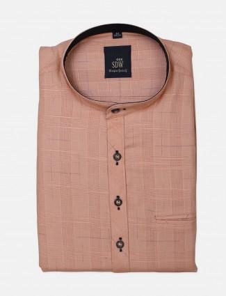 SDW printed pattern yellow half sleeves shirt