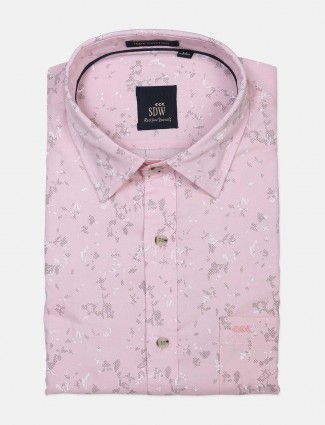 SDW printed pink cotton shirt
