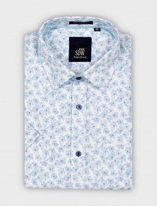 SDW sky blue color formal wear printed shirt