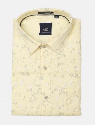 SDW slim fit blue printed shirt