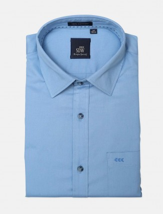 SDW solid formal shirt in blue for mens