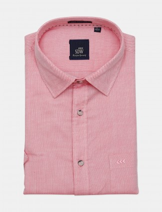 SDW solid pink formal shirt for mens
