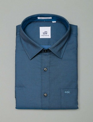 SDW solid rama green cotton shirt