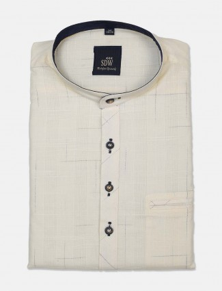 SDW white printed cotton cut away collar shirt