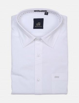 SDW white solid mens shirt