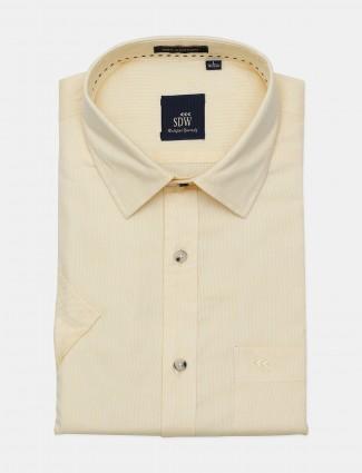 SDW yellow solid cotton cut away collar shirt