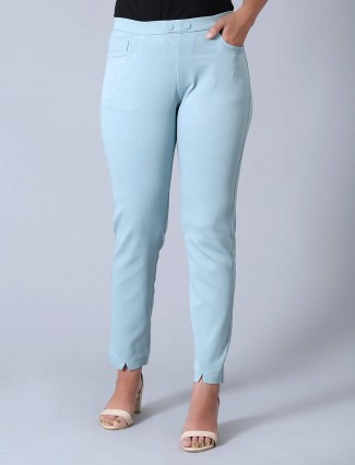 Sea green cotton jeggings for casual outings